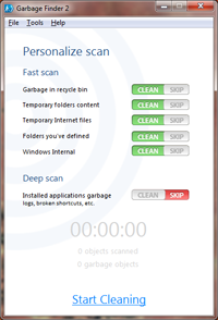 Garbage Finder Scanning Windows.